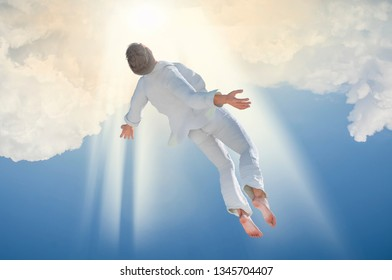 3D Illustration of Soul Ascension. Ghost of a man taken up into heaven. Afterlife, meditation and dream concept