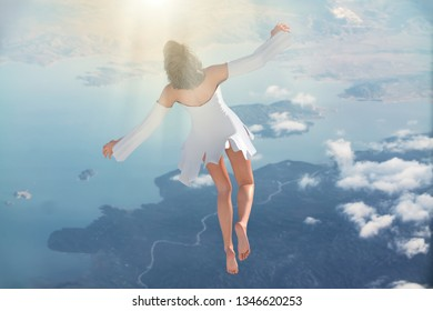 3D Illustration of Soul leaving the body upon death and ascends to heaven. Afterlife, meditation and dream concept