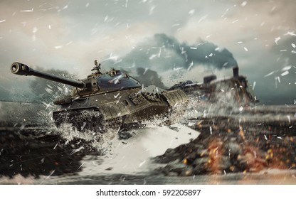 3D illustration soviet battle tank on the background of the burning locomotive attacked in the cold winter