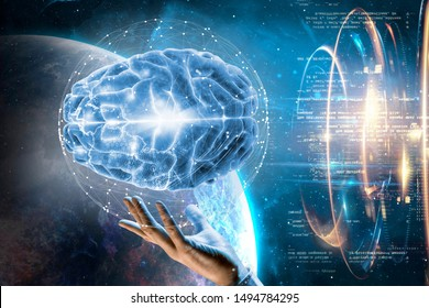 3d illustration. Space. Artificial intelligence. Tech. Brain in hand. Data.