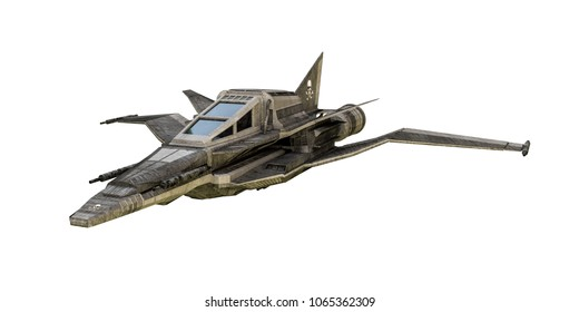 3d illustration of a spaceship fighter isolaed on white background