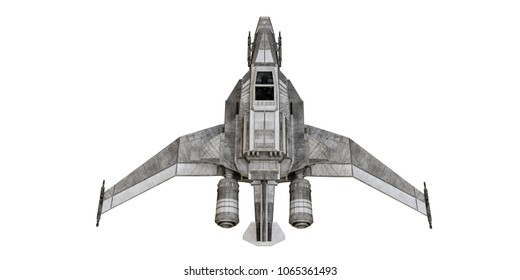 3d illustration of a spaceship fighter isolated on white background