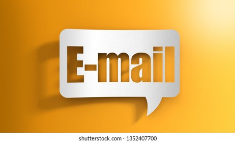 3d illustration. Speech bubble with E-mail sign