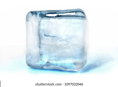 3d illustration of a sperm cell frozen into ice cube