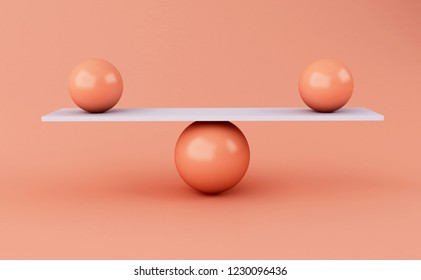3d illustration. Spheres balancing on a seesaw. balance concept.