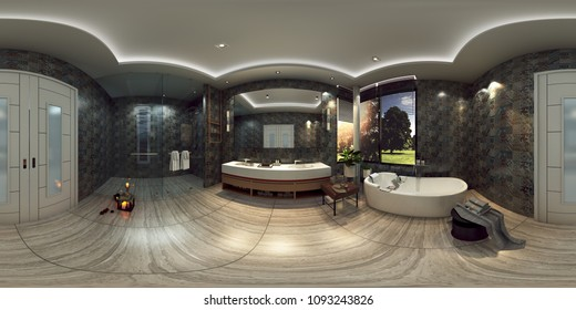 3d illustration spherical 360 degrees, a panorama of the room and interior design. bathroom (3D rendering)