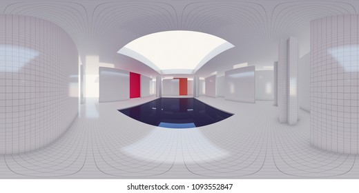3d illustration spherical 360 degrees, a panorama of the room and interior design. Modern studio office (3D rendering)
