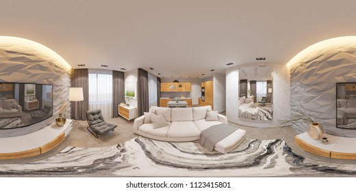 3d illustration spherical 360 degrees, seamless panorama of living room and kitchen interior design. Rendered picture. Sofa, table with chairs and 3d decorative panels. Modern studio apartment in the