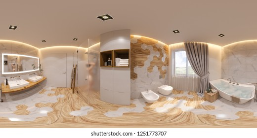3d illustration spherical 360 degrees, seamless panorama bathroom interior design. 3d render is designed in a Scandinavian minimalist style. Image for virtual reality