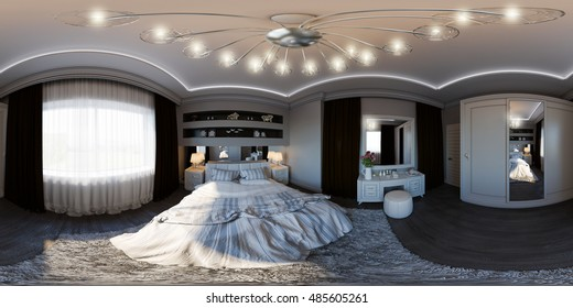 3d illustration spherical 360 degrees, seamless panorama of bedroom interior design. The design of the bedroom is in modern classics