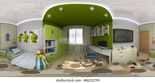 3d illustration spherical 360 degrees, seamless panorama of children's room interior design. Design a child's room is in green and blue tones
