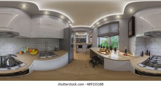 3d illustration spherical 360 degrees, seamless panorama of  living room interior design. Modern studio apartment in the Scandinavian minimalist style