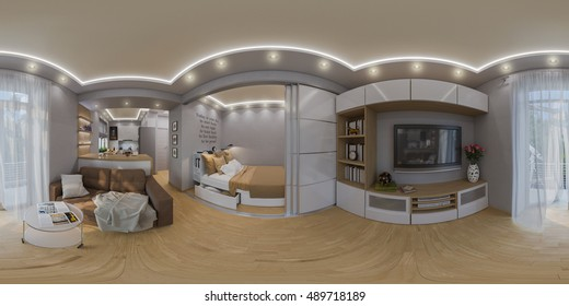 3d illustration spherical 360 degrees, seamless panorama of  living room and bedroom interior design. Modern studio apartment in the Scandinavian minimalist style
