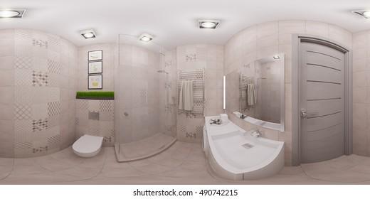 3d illustration spherical 360 degrees, seamless panorama of  bathroom interior design. Modern studio apartment in the Scandinavian minimalist style with majolica tiles