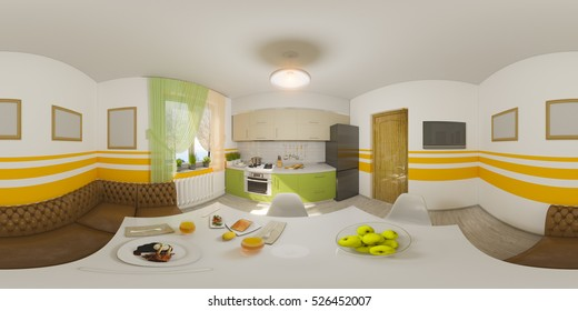 3d illustration spherical 360 degrees, seamless panorama of kitchen interior design. Modern studio apartment in the Scandinavian minimalist style
