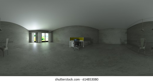 3d illustration spherical 360 degrees, seamless panorama of the room and interior design. Modern studio apartment in the Scandinavian minimalist style (3D rendering)