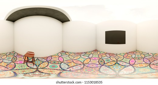 3d illustration spherical 360 vr degrees, a seamless panorama of the room and interior design (3D rendering)