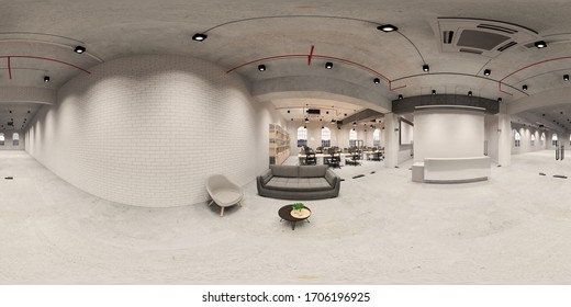 3d illustration spherical 360 vr degrees, a seamless panorama of the room and office. interior design 3D rendering.reception in a modern panoramic office