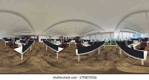 3d illustration spherical 360 vr degrees, a seamless panorama of the room and mall interior design