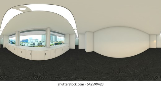 3d illustration spherical 360 vr degrees, a seamless panorama of the office interior design (3D rendering)