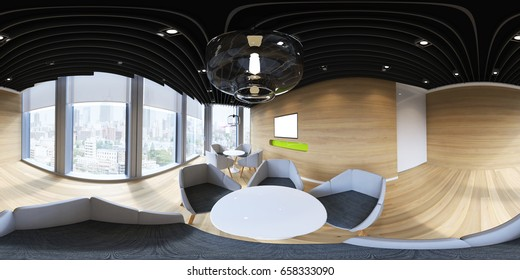 3d illustration spherical 360 vr degrees, a seamless panorama of the room and interior design for business room (3D rendering)
