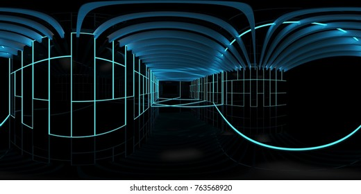 3d illustration spherical 360 vr degrees, a seamless panorama of the room and room of light interior design (3D rendering)
