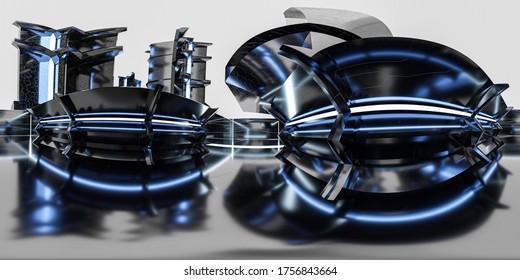 3d illustration spherical full 360 vr degrees hdr style panorama, technology 3D rendering