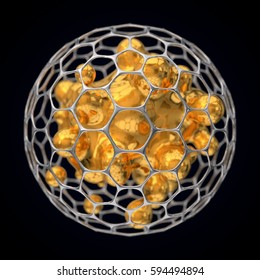 3d illustration of spherical graphene structure.