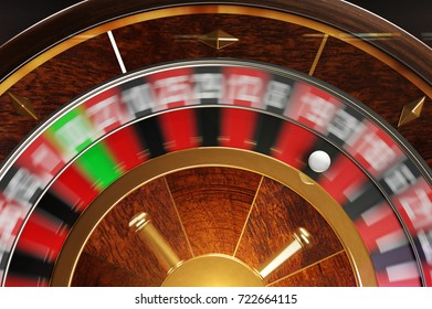 3D illustration of spinning roulette view from above