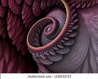 3D Illustration - Spiral shape in pink and purple colors, recursive fractal/fantasy computer generated artwork. Fantasy world, infinite vortex repeating geometric spiral pattern