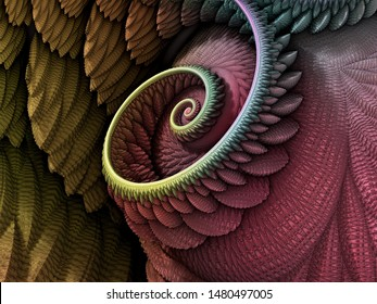 3D Illustration - Spiral shape in yellow and red colors, recursive fractal/fantasy computer generated artwork. Fantasy world, infinite vortex repeating geometric spiral pattern