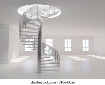 A 3d illustration of a spiral stair 3D rendering