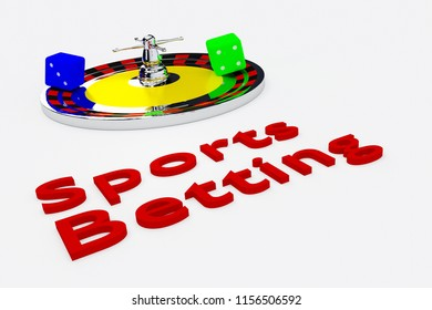 3D illustration of Sports Betting title written in embossed letters, with a roulette wheel and two dice.