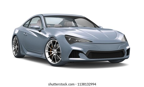 3D illustration of Sports Coupe Car on white