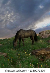 3d illustration of Spring blossoms on the open plain with a horse grazing on a hill side.