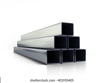 3d illustration of a square metal pipes stacked in a pile isolated on white background