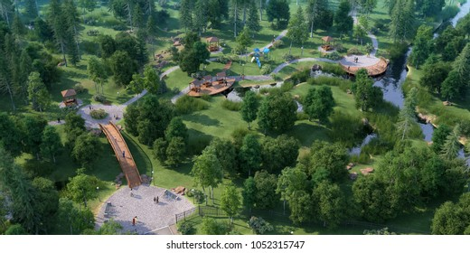 3D illustration square and park zone, rendering, 300 dpi
