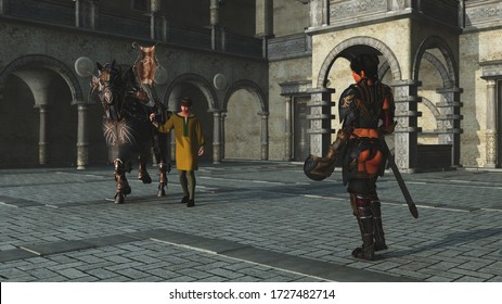 3D illustration of stable boy bringing war horse to waiting female knight in castle courtyard