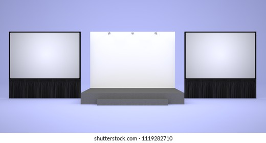 3d illustration stage backdrop with 2 screen projector and spotlight for presentation meeting. High resolution image.