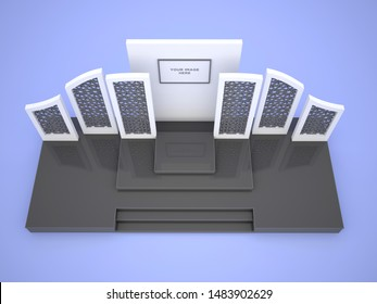 3d illustration stage backdrop islamic ornament wood texture with LED TV screen for presentation talk show. High resolution image isolated.