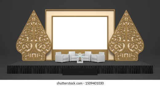 3d illustration stage backdrop LED  screen with gunungan wayang traditional indonesia style and sofa table for talk show presentation product exhibition. High resolution image isolated.
