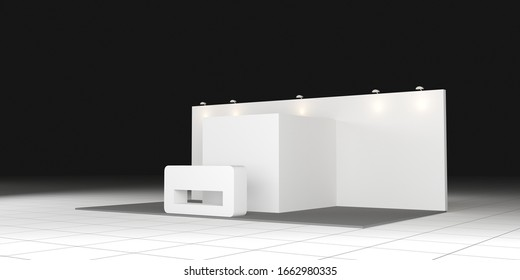 3d illustration stage backdrop LED TV screen block square style with blank space logo company for event exhibition. High resolution image isolated.