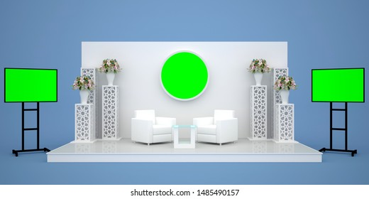 3d illustration stage backdrop sofa table with standing display flower islamic ornament and portable screen LED TV blank empty for your image. High resolution image isolated.