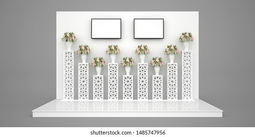 3d illustration stage backdrop with standing display flower islamic ornament and led TV screen for photo booth wedding exhibition.