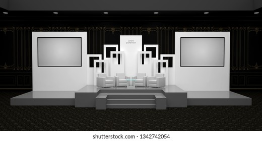 3d illustration stage backdrop talkshow with screen for presentation. High resolution image.