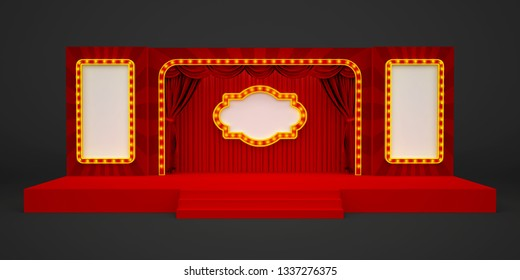 3d illustration stage backdrop theatre circus style with blank space for your image.