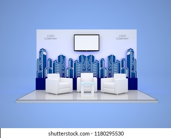 3d illustration stage flooring backdrop city led tv screen blank with sofa table for talkshow exhibition presentation. High resolution image isolated.
