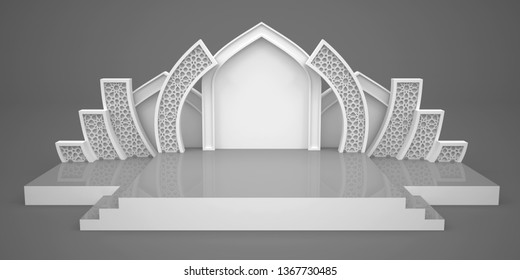 3d illustration stage presentation talkshow with blank space for your image and backdrop ornament islamic wing style. High resolution background isolated.