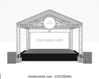3d illustration stage rigging outdoor with empty backdrop and speaker sound system. High resolution image isolated.