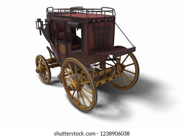 3D illustration of stagecoach